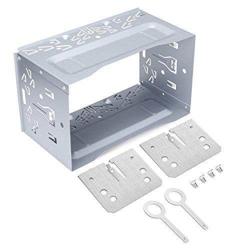 LOETAD 2DIN Einbaurahmen Metal Eisen Einbauschacht Universal für Autoradio Radio DVD Player GPS Navigation (Verpackung MEHRWEG)