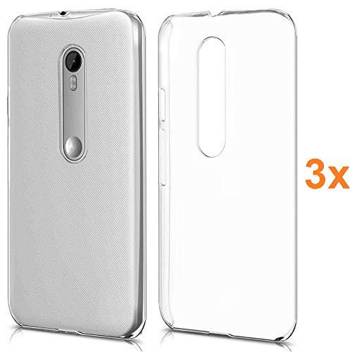 REY 3X Funda Carcasa Gel Transparente para Motorola Moto G3, Ultra Fina 0,33mm, Silicona TPU de Alta Resistencia y Flexibilidad