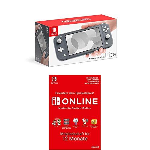Nintendo Switch Lite, Standard, grau + Nintendo Switch Online Mitgliedschaft 12 Monate (Download Code)