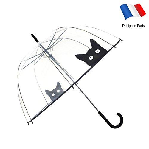 SMATI transparenter Regenschirm Damen Automatik-Stockschirm Glockenform mit Katze – Winddicht – Vogelkäfig Dome Siehe durch (Katze)