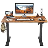 FEZIBO Height Adjustable Electric Standing Desk, 48 x 24 Inches Stand Up Table, Sit Stand Home Office Desk with Splice Board, Black Frame/Rustic Brown Top