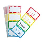 WIWAPLEX Plain Name Tag Sticker,Colorful Border Name Tag Labels, Self-Adhesive Name Badge Labels Stick on Kids Clothes, Desk, Box, Office School Home 3.75 x 2.25Inch (240pcs)