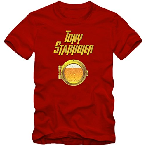 Tony Starkbier T-Shirt | Beer | Kühles Blondes | Herren |Tony Stark |Iron Man, Farbe:Rot (Red L190);Größe:XXL
