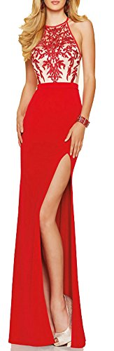made2envy Embroidery Decorated Halter Neckline Evening Gown (L, Red) V1011LR