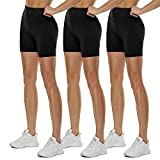 QGGQDD 3 Pack High Waisted Biker Shorts for Women – 5' Buttery Soft Black Workout Yoga Athletic Shorts