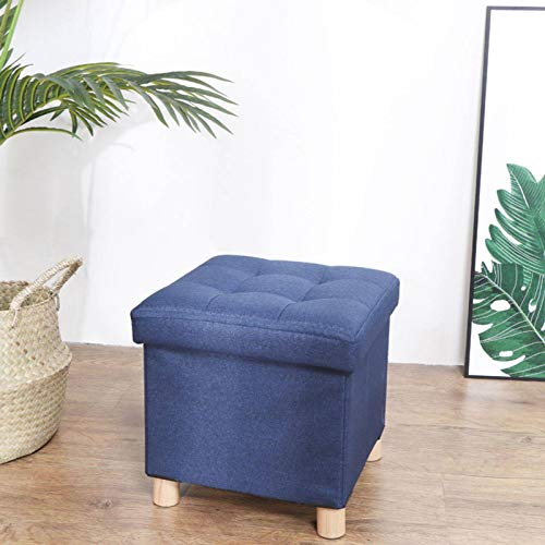 GOPG Lino Baúl Puff Taburete, Plegable Taburete para Almacenaje Hogar Banco de Zapatos Otomana Taburete de Sofá Adecuado para Sala de Estar Dormitorio Balcon-30X30X31cm-Azul