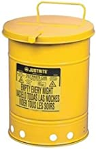 Justrite 09711 21 Gallon Oily Waste Can without Lever, Yellow
