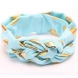 iKulilky Baby Stirnbänder,Neugeborene Haarband Flexibilität Kleinkind Kopfbedeckung Turban Mädchen Headwrap Stirnband Haarring Head Wraps - Blau