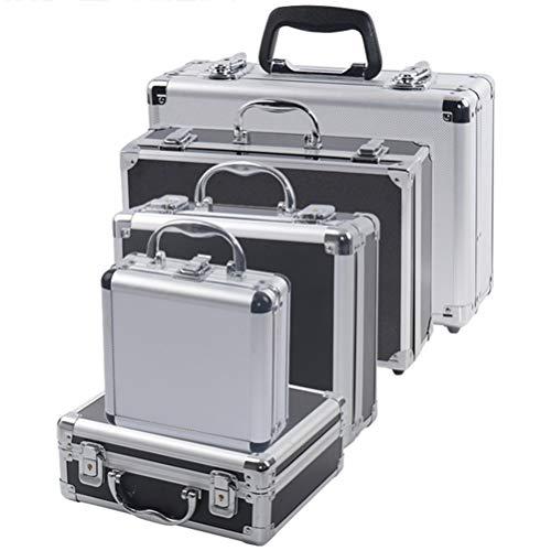 Caja de herramientas portátil de aluminio para herramientas de seguridad, caja de instrumentos, caja de almacenamiento, maleta, resistente a los impactos, con esponja (tamaño : 170 x 160 x 70 mm)