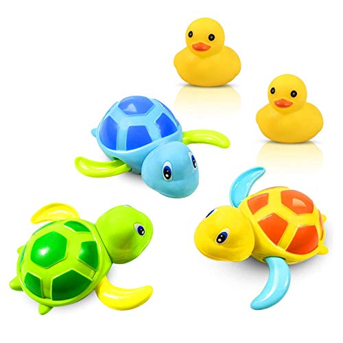 Yojoloin Bath Toys Baby Bathing Clockwork Turtle Swimming Pool Toy-3 Clours and 2 Pcs Rubber Squeaky Duck Tub Toy For Toddlers Boys Girls Bath Toys Set for 3-12 Years Old Kids Boys Girls (5 Pcs).