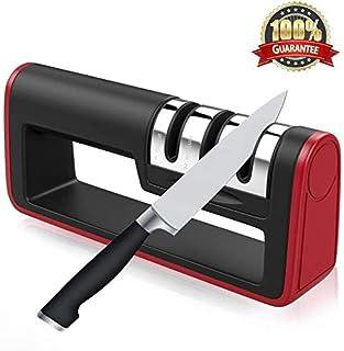 Afilador de cuchillos de cocina actualizado Sinzau - Afilador manual profesional de 3 etapas para cuchillos de cocina