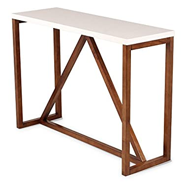 Kate and Laurel Kaya Two-Toned Wood Console Table with White Top and Walnut Brown Base