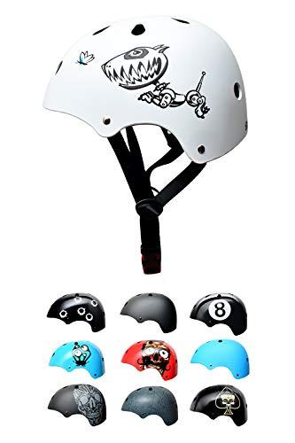 SkullCap® Casco BMX - Casco Skate - Casco Bici, Taglia S (53 – 55 cm) Casco per Bambini, Design: Robodog