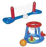 Juego de juguetes para piscina, red de voleibol, baloncesto, juego de lanzamiento de anillos, hinchable