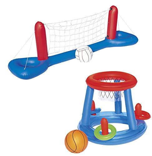 Pool-Spielzeug Set Volleyball-Netz Basketball Ringwurfspiel aufblasbar