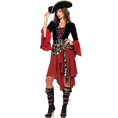 SPFTOY Damen Piratenkostüm Faschingskostüme Cosplay Halloween Party Karneval Fastnacht Piratin Kostüm für Erwachsene-XL