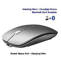 Alician ワイヤレスマウス充電式ワイヤレスBluetoothデュアルモードマウスラップトップゲーム超薄型サイレントマウス シルバーワイヤレス+ Bluetoothバージョン