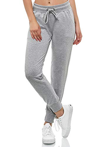 Smith & Solo Women's Jogging Bottoms - Sports Trousers Women Cotton | Sweatpants Slim Fit Casual Trousers Long | Training Trousers Fitness High Waist - Jogger Running Trousers Modern - Grey - Large