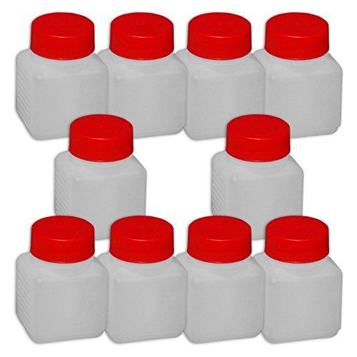 Wilai 10 x 100 ml Plastikflasche Weithalsflasche mit Deckel Behälter PE-Flasche lebensmittelecht ***Ideal zum Abfüllen von Kosmetikprodukten***