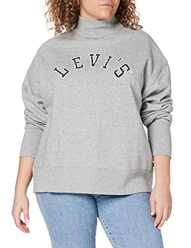 Levi's Gardenia Sweatshirt Sudadera, Varsity Logo Applique Mockneck Smokestack Heather, M para Mujer