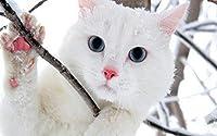 ペットの猫ジグソーパズル500/1000/1500ピースかわいい動物のパズル - ツリーの白猫プレイ - 品質親子玩具 - 猫愛好家のための特別な贈り物 (Size : 1500 pcs)