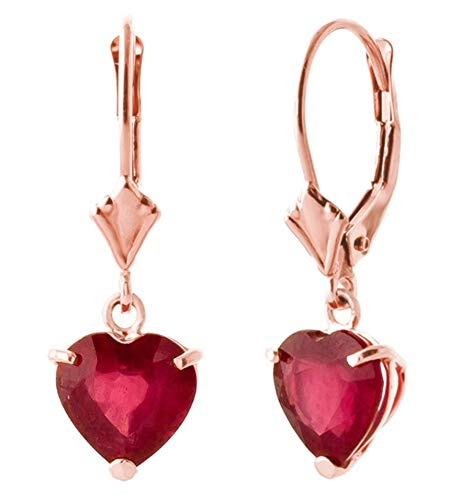 Galaxy Gold 2.9 CTW 14k Solid Rose Gold Leverback Earrings Heart-shaped Ruby