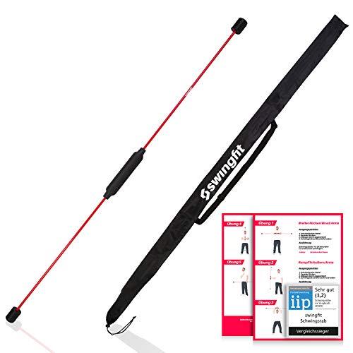 swingfit® Schwingstab inkl. praktischer Tasche & Rücken Trainingsplan - Swingstick für Tiefenmuskulatur & Reha - Gymnastik Schwungstab für Fitness (Original)