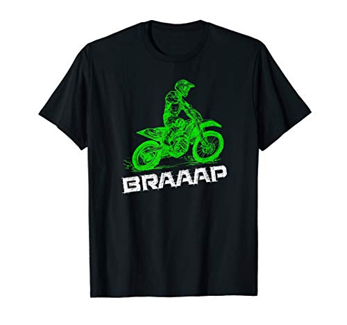 Brap Braap 2-Stroke Send It Motocross Dirt Bike Green ET3 T-Shirt