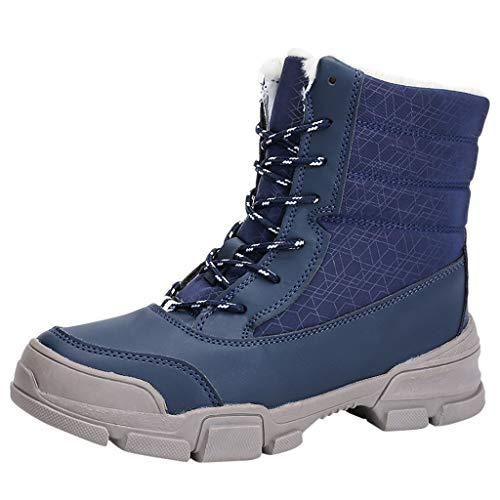 Andouy Damen Schneestiefel Modisch Ankle Boots Flache Stiefel Warmer Futter Schnürstiefel(40 EU,Blau)