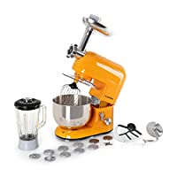 klarstein lucia orangina - robot da cucina, mixer, impastatrice, 1300 w, 5 l, sistema planetario, tritacarne, ganci per pasta, shaker da 1,5 l, velocità regolabile, arancione
