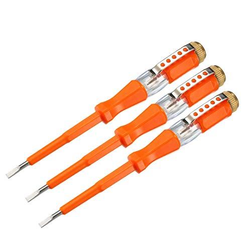 Comprobador de tensión AC 100-500V con destornillador de ranura de 3 mm con clip para prueba de circuito, naranja, paquete de 3