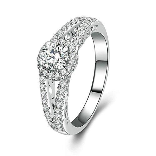 Adokiss Anillo de plata para mujer, anillos de compromiso de 4 puntas, con circonitas blancas, redondo, brillante, talla 18,1, regalo de cumpleaños para novia