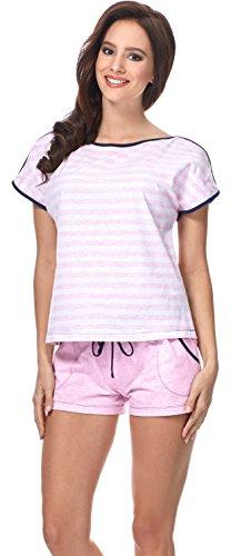 Merry Style Pijama Conjunto Camiseta y Pantalones Mujer D4R4TH6 (Rosa/Azul Marino/Rayas, XL)