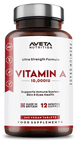 Vitamin A 10,000IU - Maintenance of The Immune System, Normal Vision and Skin - 365 Tablets - Vegan & Vegetarian Friendly - Made in The UK Aveta Nutrition