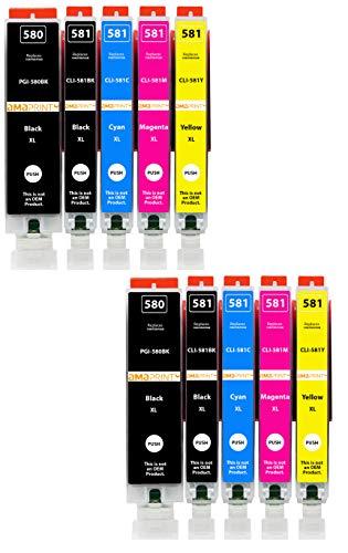 Amaprint 10 cartucce XL compatibili con Canon PGI-580 CLI-581 per Pixma TR7500 TR7550 TR7550 TR8550 TS6100 TS6150 TS6151 TS6250 TS6251 TS6350 TS6351 TS705 TS9540 TS9541c TS9550 TS9550 TS9551c