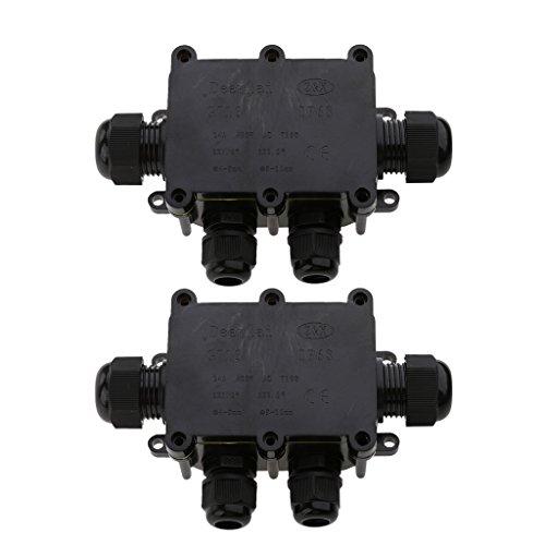 Preisvergleich Produktbild 2er Pack Wasserdichte Abzweigdose Verteilerdose Kabelverbinder Klemmdose für Aussen Erdkabel elektrischer Verteilerdose - 4 Weg