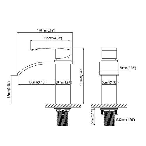 Homelody – Einhebel-Waschtischarmatur, ohne Ablaufgarnitur, Wasserfallarmatur breite Form, Chrom - 8