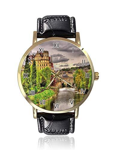 Reloj de cuarzo para hombre con vista de la ciudad de baño sobre el río Avon en Inglaterra con impresión digital con pantalla analógica y correa de piel