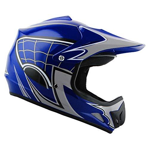 WOW Youth Kids Motocross BMX MX ATV Dirt Bike Helmet Spider Web Blue