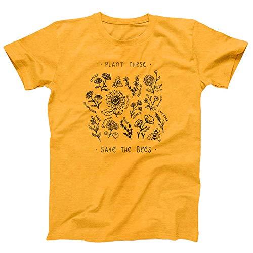"""wlsomegoo: Damen-T-Shirt, kurzärmelig, O-Ausschnitt, Baumwolle, bedruckt mit """"Plant These Save The Bees"""" m"""
