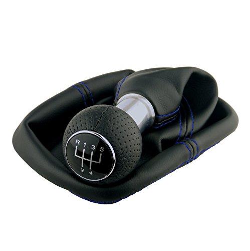L & P Car Design L&P A0254-10 Schaltsack Schaltmanschette Schwarz Naht Blau Schaltknauf perforiert 5 Gang 12mm kompatibel mit VW Golf 2 II 3 III Polo 6N Passat 35i UVM. GTI Look Plug Play Ersatzteil