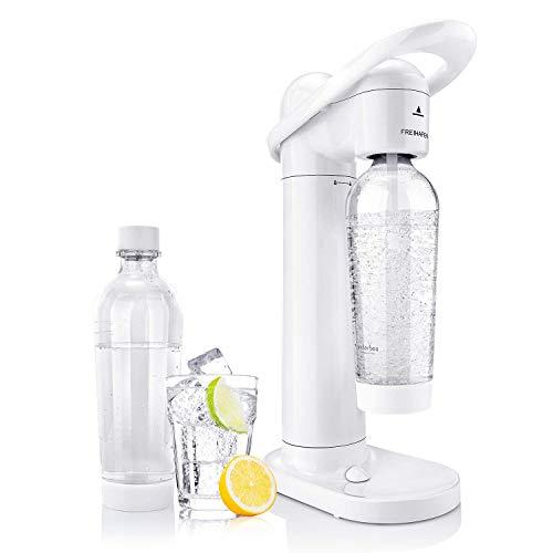 Freihafen Soda Streamer Moderner Weißer Wassersprudler mit 2 X 1L PET-Sprudelflasche BPA-Frei Trinkwassersprudler Sprudelwasser Set Sodabereiter für Leitungswasser Trinkwasser Sodawasser Kohlensäure