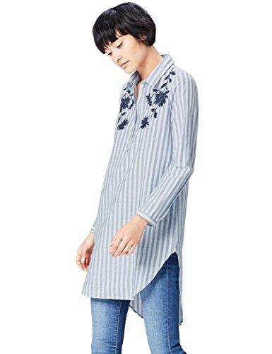 find. Bluse Damen mit Blumenstickerei, Vintage-Streifen und Knopfleiste, Blau (Blue/white), 34 (Herstellergröße: X-Small)