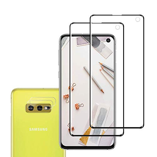 Price comparison product image Galaxy S10e Screen Protector + Camera Lens Protector By EESHELL,  [2 Pack + 2 Pack] [New Version] [Edge Covered] [Case Friendly] [Fingerprint Compatible] for Samsung Galaxy S10e