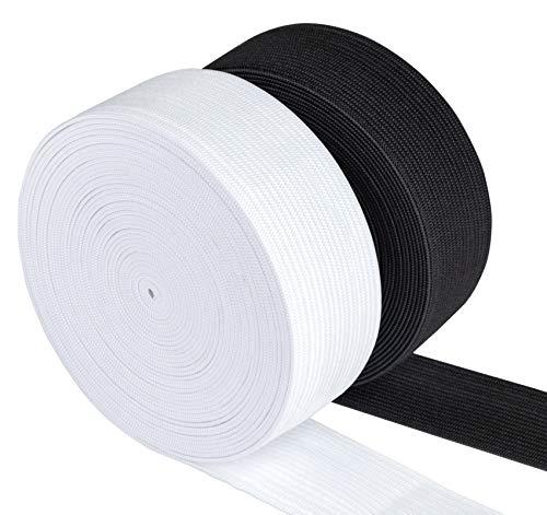 Agoer Gummiband 30mm Breit Weiß Schwarz - 2 Stück 12 Meter (13 Yards) Gummilitze Elastisches zum Nähen, Elastic Band für Haushalt DIY Handwerk (30 MM)