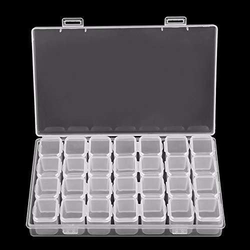 RULITTTT Boîte de Rangement Vide en Plastique Transparent à 28 emplacements pour manucure Outil à Ongles Bijoux Perles Affichage Boîte de Rangement Sac de Rangement