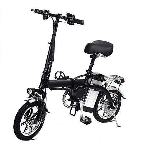 Lamtwheel Bicicleta Eléctrica De La Ciudad Plegable De La Bicicleta, Bicicleta Eléctrica Ebike con Motor Sin Escobillas 350W Y Batería De Litio De 48V 10Ah, Tres Modos(hasta 35 km/h)