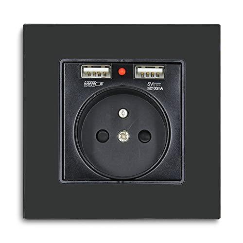 BSEED prise murale avec 2xUSB,16amp Prise simple de courant alternatif Panneau en verre cristal prise murale Noir,prise 250V avec USB(max.2,1A),convient à la smartphone,à la tablette et au MP3