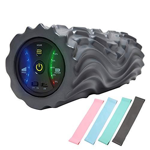 Vibrierende Faszienrolle, 5 Geschwindigkeitseinstellungen Wiederaufladbare Schaumstoffrolle, 3 Einzigartige Wellenmuster Triggerpunktmassagegerät Entspannen der Muskeln, mit 4 Widerstandsbändern,Grau