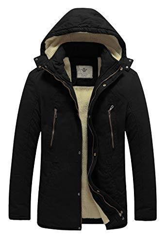 WenVen Men's Winter Warm Casual Hooded Sherpa Lined Parka Jacket(Black,L)